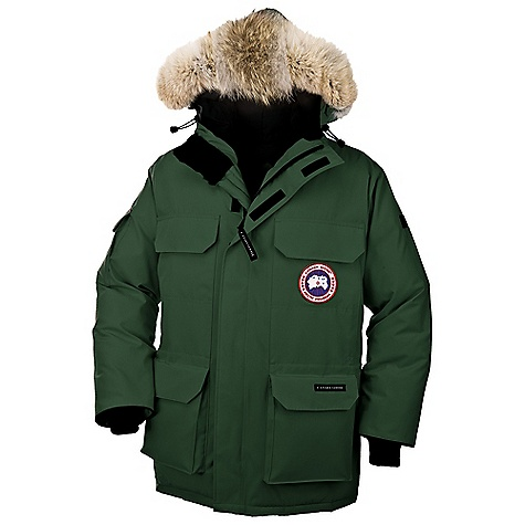 Hunting Free Shipping. Canada Goose Men's Expedition Parka DECENT FEATURES of the Canada Goose Men's Expedition Parka Mid-length provides good protection Coyote fur ruff surrounding a 2-way adjustable tunnel hood (horizontally and hood opening), with an adjustable bracing wire for superior protection in high-wind conditions High-pile fleece-lined chin guard for comfort Two upper chest pockets secured with Velcro flaps Heavy-duty, centre front YKK 2-way locking zipper Storm flap over centre front zipper secured with Velcro Two lower, full-bellow snow pockets secured with Velcro flaps Four, fleece-lined, zippered handwarmer pockets hidden behind chest and lower pockets Utility pocket on left sleeve and flap pocket on right sleeve Two interior pockets: a security pocket with a zipper closure and a drop-in pocket Elasticized Nylon snow skirt Adjustable waist drawcord provides added warmth Recessed, heavy-duty, rib-knit cuffs to keep out the cold The SPECS Centre Back Length: 35in. / 88.9 cm Fill Power: 625 fill power white Duck down Fit: Relaxed Insulated Coyote Ruff Fur: Not Removable This product can only be shipped within the United States. Please don't hate us. - $794.95
