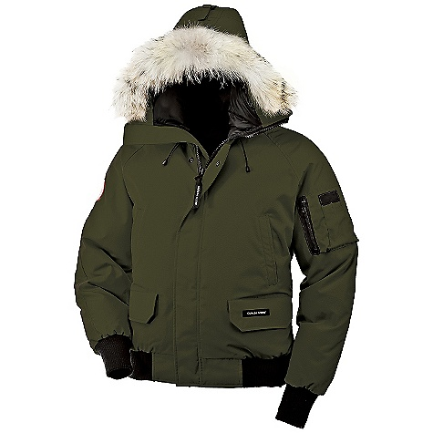Hunting Free Shipping. Canada Goose Men's Chilliwack Bomber Jacket FEATURES of the Canada Goose Men's Chilliwack Bomber Jacket Rated a 3 on Canada Goose's Thermal Experience Index, this jacket should keep you warm around 10degF Bomber length for exceptional mobility 2-way adjustable tunnel hood (vertically and hood opening) surrounded by a Coyote fur ruff Heavy-duty, centre front YKK 2-way locking zipper Storm flap over centre front zipper secured with hidden snaps Double reinforced elbows for durability Two fleece-lined high-hand warmer pockets Two lower pockets with fleece lining, secured with Velcro flaps Utility pocket is positioned on left sleeve One interior drop-in pocket Heavy-duty, rib-knit cuffs and waistband to keep out the cold Natural coyote fur - $750.00