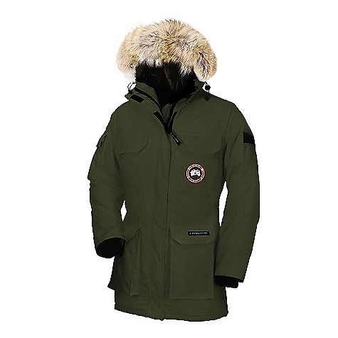 Hunting Free Shipping. Canada Goose Women's Expedition Parka DECENT FEATURES of the Canada Goose Women's Expedition Parka Mid-length provides good protection Coyote fur ruff surrounding a 2-way adjustable tunnel hood (horizontally and hood opening), with an adjustable bracing wire for superior protection in high-wind conditions Heavy-duty, centre front YKK 2-way locking zipper High-pile, fleece-lined chin guard for comfort Two upper chest pockets secured with Velcro flaps Storm flap over centre front zipper secured with Velcro Two lower, full-bellow snow pockets secured with Velcro flaps Four, fleece-lined, zippered handwarmer pockets hidden behind chest and lower pockets Utility pocket on left sleeve and flap pocket on right sleeve Two Interior Pockets: a security pocket with a zipper closure and a drop-in pocket Elasticized Nylon snow skirt Adjustable waist drawcord provides added warmth Recessed, heavy-duty, rib-knit cuffs to keep out the cold The SPECS Centre Back Length: 33in. / 83.82 cm Fill Power: 625 Fill Power White Duck Down Fit: Relaxed Insulated Coyote Fur Ruff: Not Removable This product can only be shipped within the United States. Please don't hate us. - $794.95