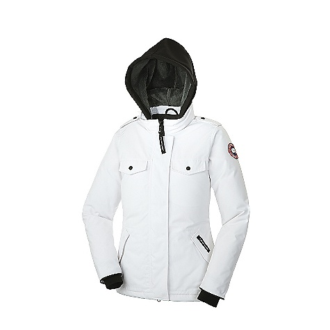 Entertainment Free Shipping. Canada Goose Women's Burnett Jacket DECENT FEATURES of the Canada Goose Women's Burnett Jacket Hip-length for mobility and moderate protection from the cold Removable 2-way stretch softshell hood for style with protection against unexpected weather conditions Heavy-duty, centre front YKK 2-way locking zipper, secured with hidden snaps under storm flap Shoulder epaulettes with snap attachment, to secure removed hood or gloves Two chest drop-in pockets with Canada Goose embossed logo snap closure Two lower brushed tricot lined handwarmer pockets with hidden snap closure Two interior pockets Inside right security pocket with zipper closure and a left drop-in pocket has an additional stretch media pocket with headphone access opening Adjustable hem to seal out cold and wind Recessed, heavy-duty, rib-knit cuffs to keep out the cold The SPECS Centre Back Length: 28in. / 71.12 cm Fill Power: 625 Fill Power White Duck Down Fit: Slim Insulated Coyote Fur Ruff: Removable This product can only be shipped within the United States. Please don't hate us. - $649.95