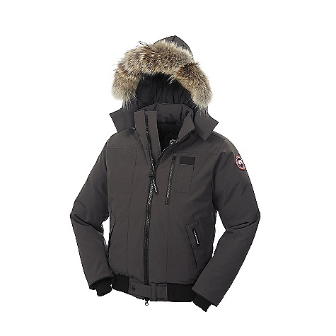 Hunting Free Shipping. Canada Goose Men's Borden Bomber FEATURES of the Canada Goose Men's Borden Bomber Rated a 3 on Canada Goose's Thermal Experience Index, this jacket should keep you warm around 10degF Bomber length for exceptional mobility Removable Coyote fur ruff surrounding a 1-way adjustable hood secured by a hidden snap closure at the collar Heavy-duty, centre front YKK 2-way locking zipper Closure tab at centre front secured with a single logo snap Two lower welt hand warmer pockets with fleece Fleece-lined Napoleon chest pocket with zipper closure Utility pocket is positioned on left chest One interior security pocket with YKK zipper closure Recessed, heavy-duty, rib-knit cuffs and waistband to keep out the cold Natural coyote fur - $800.00