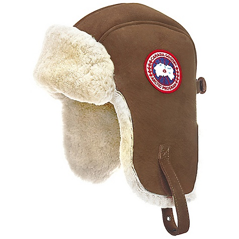 Entertainment Free Shipping. Canada Goose Suede Shearling Pilot Hat DECENT FEATURES of the Canada Goose Suede Shearling Pilot Hat Natural Shearling offers warmth in the cold weather while the soft suede exterior will weather perfectly to reflect your past adventures Adjustable leather chinstrap with metal buckle that can used to tighten the hat Centre back metal buckle as a key design feature and size adjuster Canada Goose disc at left side Wordmark label at the centre back The SPECS Ruff Fur: Shearling Shell: Ironed sheepskin shearling with natural suede exterior This product can only be shipped within the United States. Please don't hate us. - $249.95