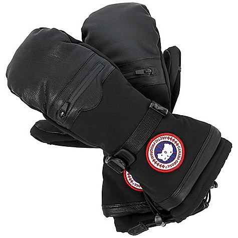 Entertainment Free Shipping. Canada Goose Men's Northern Mitt DECENT FEATURES of the Canada Goose Men's Northern Mitt Water resistant soft shell along with goatskin leather provides amazing protection against extreme weather Fleece lined for added warmth Removable liner adds to the warmth of the mitt Waterproof/breathable and taped inserts Pocket on the back of the hand with zipper closure provides extra storage Extended cuff with single hand adjuster Webbing wrist adjuster Finger loop for hang drying the glove Nose wipe on the thumb Leather pull tab on the inside wrist Canada Goose disc at the wrist The SPECS Fill Power: 525 fill power goose down Outer Shell: 40% Leather, 55% Nylon, 5% Polyester Insert: 100% PU Lining: 100% Polyester Removable Liner: 92% Polyester, 8% Spandex This product can only be shipped within the United States. Please don't hate us. - $224.95