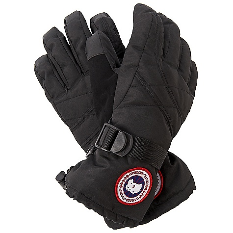 Free Shipping. Canada Goose Women's Down Glove DECENT FEATURES of the Canada Goose Women's Down Glove Water-resistant Polyester outer shell for durability and weather resistance Waterproof/breathable and taped insert Reinforced palm and thumb for more mobility Thumb nose wipe Fleece cuff Webbing wrist adjuster Cuff hem single hand adjuster Canada Goose disc at the wrist The SPECS Fill Power: 525 fill power goose down Outer Shell: 100% Polyester Insert: 100% PU Palm: 47% PU, 53% Polyester Lining: 100% Polyester This product can only be shipped within the United States. Please don't hate us. - $124.95