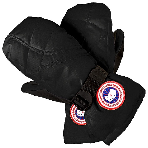 Free Shipping. Canada Goose Women's Down Mitt DECENT FEATURES of the Canada Goose Women's Down Mitt Water-resistant Polyester outershell for durability and weather resistance Waterproof/breathable and taped insert Reinforced palm and thumb for more mobility Thumb nose wipe Fleece cuff Webbing wrist adjuster Cuff hem single hand adjuster Canada Goose disc at the wrist The SPECS Fill Power: 525 fill power goose down Outershell: 100% Nylon Insert: 100% PU Palm: 47% PU, 53% Polyester Lining: 100% Polyester This product can only be shipped within the United States. Please don't hate us. - $124.95