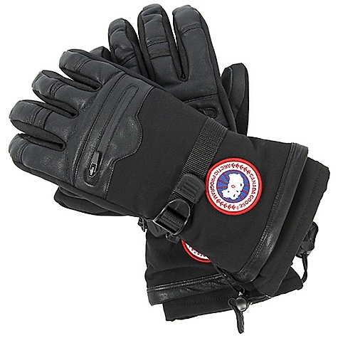Entertainment Free Shipping. Canada Goose Men's Northern Glove DECENT FEATURES of the Canada Goose Men's Northern Glove Water resistant soft shell along with goatskin leather provides amazing protection against extreme weather Fleece lined for added warmth Removable liner adds to the warmth of the glove Waterproof/breathable and taped inserts Pocket on the back of the hand with zipper closure provides extra storage Extended cuff with single hand adjuster Webbing wrist adjuster Finger loop for hang drying the glove Nose wipe on the thumb Leather pull tab on the inside wrist Canada Goose disc at the wrist The SPECS Fill Power: 525 fill power goose down Outer Shell: 40% Leather, 55% Nylon, 5% Polyester Insert: 100% PU Lining: 100% Polyester Removable Liner: 92% Polyester, 8% Spandex This product can only be shipped within the United States. Please don't hate us. - $224.95