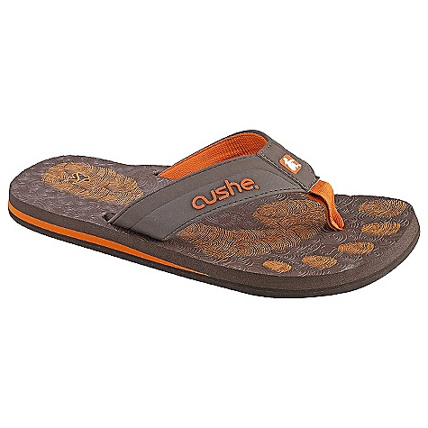 Entertainment Cushe Men's Forensic Flop Sandal The SPECS Upper: Soft EVA strap Lining: Canvas Lining: Footbed: Yoga mat sponge Footbed: Midsole: Molded EVA with added arch support Outsole: Blown EVA with unique sitting boy design - $34.95