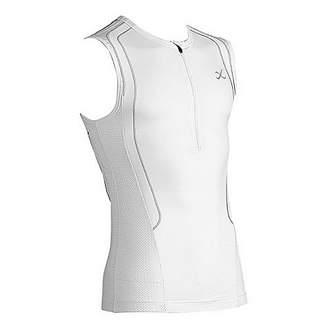 Free Shipping. CW-X Men's Ventilator Web Triathlon Top DECENT FEATURES of the CW-X Men's Ventilator Web Triathlon Top The Support Web(TM) specifically targets the trapezius muscles and scapular bones of the upper back to assist in supporting improved posture and more controlled shoulder and arm movement LiteStretch(TM) fabric: 4-way stretch for comfortable freedom of movement Quick-dry moisture movement and evaporation through 3-layer capillary action for next-to-skin comfort LiteStretch(TM) 4-way stretch mesh fabric on sides Antibacterial fiber for freshness Side pockets UPF 50+ for UVA/UVB protection The SPECS Fabric: 90% polyester/10% spandex This product can only be shipped within the United States. Please don't hate us. - $84.95
