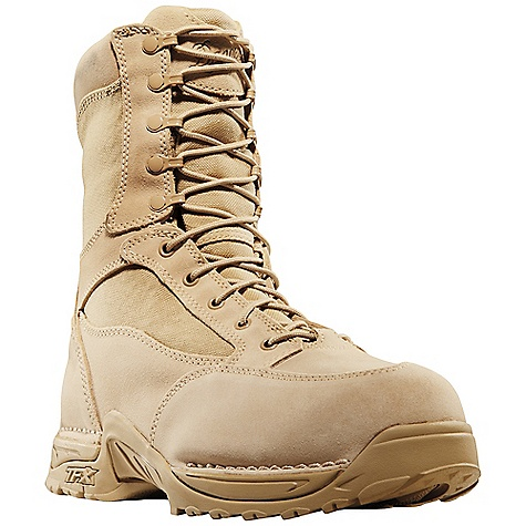 Free Shipping. Danner Men's Desert TFX Rough-Out GTX 8IN Boot DECENT FEATURES of the Danner Men's Desert TFX Rough-Out GTX 8IN Boot Durable, waterproof, rough-out leather upper with rugged and lightweight 1000 Denier nylon Speed lace fastening system for secure fit 100% waterproof and breathable Gore-Tex lining Cushioning Fatigue Fighter footbed Lightweight and stable performance of Danner's TERRA FORCE X platform Danner Approach TFX outsole for instant acceleration over rugged terrain Meets AR 670-1 requirements for optional wear The SPECS Height: 8in. Weight: 58 oz Lining: Gore-Tex Last: 851 Shank: Nylon - $189.95