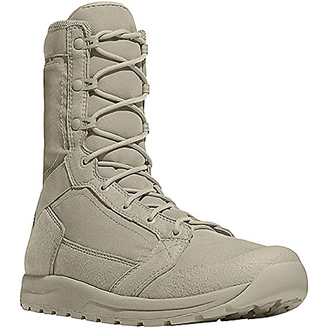 Camp and Hike Free Shipping. Danner Men's Tachyon Boot DECENT FEATURES of the Danner Men's Tachyon Boot Complete synthetic ultralight upper for superior weight savings and dry time Abrasion resistant toe cap Open cell polyurethane footbed allows for optimal airflow and superior durability EVA midsole for shock absorption Danner Tachyon rubber outsole features pentagonal lugs for superior surface contact 8in. height 26 oz - $139.95