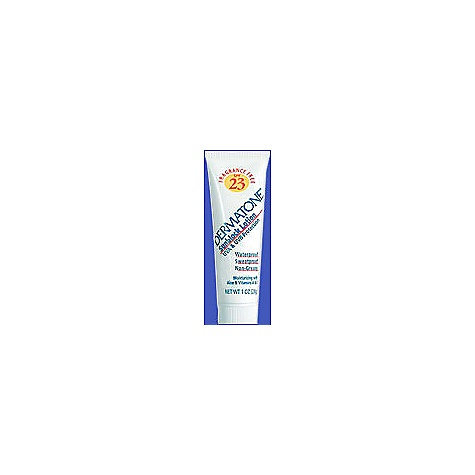 Dermatone SPF 23 Sunblock 1 oz. Tube Skin Protection Creme by Dermatone, with Aloe & Vitamins A&E, SPF 23, 1 oz Tube. Features: Dermatone's sunblock cremes/lotions protect against both UVA and UVB rays SPF 23 - 1 oz Tubes Normal Dermatone Scent Active Ingredients: Padimate O 8.0% Sunscreen Octinoxate 5.0% Sunscreen Benzophenone-3 4.5% Sunscreen Inactive Ingredients: Aloe Barbadensis Leaf Juice, Carbomer, Cetearyl Alcohol (and) Ceteareth-20, Cetyl Octanoate, Diazolidinyl Urea, Dimethicone, Glyceryl Stearate, PEG-40 Stearate, Fragrance, Propylene Glycol, PVP/Eicosene Copolymer, Retinyl Palmitate (Vitamin A), Sodium Cetearyl Sulfate, Tetrasodium EDTA, Tocopheryl Acetate (Vitamin E), Triethanolamine, Water Instructions for Use: Apply liberally and evenly to all exposed skin 30 minutes before exposure to the sun. Reapply after excessive perspiration or prolonged swimming. Warning:For external use only. Avoid contact with eyes. Discontinue use if irritation develops. For use on children under the age of six months only with the advice of a physician. - $4.95