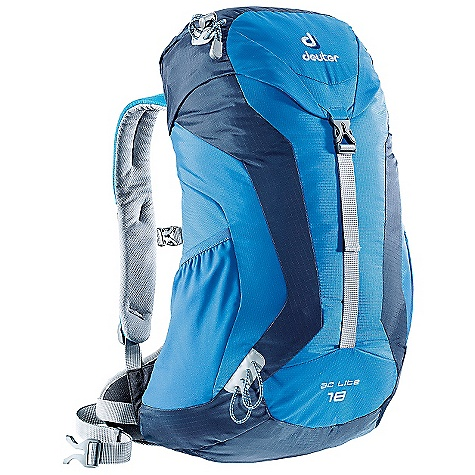 Camp and Hike Free Shipping. Deuter AC Lite 18 Pack DECENT FEATURES of the Deuter AC Lite 18 Pack Anatomically Shaped: padded shoulder straps with 3D-AirMesh cover Aircomfort Ventilated Back: system reduces perspiration by 25% Ventilation Hip Pads allows the AC Lite back system to rest comfortably against the back Durable Spring Steel Frame tensions the mesh back panel and always pops back into place Aircomfort AC Lite Back System Integrated, Detachable Rain Cover Stretch-woven Side Pockets Trekking Pole Attachments Hydration Compatible Contoured, Padded Shoulder Straps with 3D AirMesh The SPECS Carry Capacity: 13.5 lbs / 6 kg Volume: 1100 cubic inches / 18 liter Weight: 2 lbs / .9 kg (includes rain cover) Dimension: (H x W x D): 21 x 12 x 7.5in. / 53 x 30 x 19 cm Material: Ripstop 210 / Microrip-Nylon - $89.00