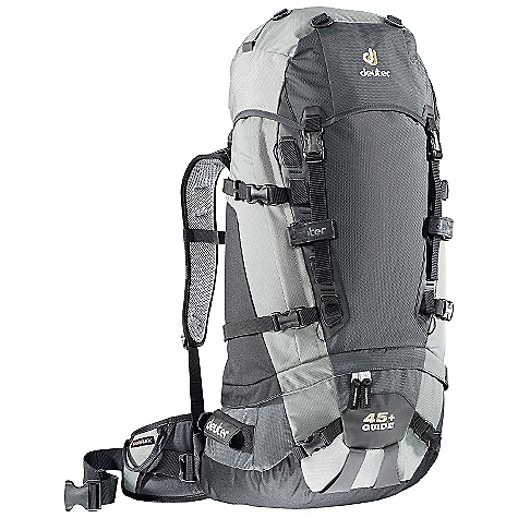 Camp and Hike Free Shipping. Deuter Guide 45+ Backpack DECENT FEATURES of the Deuter Guide 45+ Backpack ALPINE Back Systems VARIFLEX Pivoting Hip Belts Modern Ice Tool Attachments Side Straps Allow Diagonal Ski Carry A-Frame Ski Carry With Wide Ski Slot (130 mm) Vertical Snowboard Carry Removable Hip Belt Easy Access Zippered Shovel and Probe Pocket Removable Foam Mat and Stays Two Air-channeled Foam Stripes Aluminum X-Frame Spin-drift Collar Hydration Compatible Under-lid Valuables Pocket Hip Belt Gear Loops Height Adjustable Lid SOS Label Pull Forward Hip Belt Straps Bottom Compartment Access with Internal Zip Divider The SPECS Minimum Weight: 3 lbs 10 oz / 1.65 kg, (without hip belt and stays) Total Weight: 4 lbs 4 oz / 1.92 kg Carry Capacity: 45 lbs / 20 kg Torso Length: 16.5-20in. / 42-50 cm Dimension: (H x W x D): 29 x 13 x 9.5in./ 73 x 34 x 24 cm Volume: 2750 cubic inches / 45 liter (+10 liter Height Adjustable Lid Material: MacroLite / Duratex-Lite OVERSIZE ITEM: We cannot ship this product by any expedited shipping method (3-Day, 2-Day or Next Day). Even if you pick that option, it will still go Ground Shipping. Sorry for being so mean. - $179.00