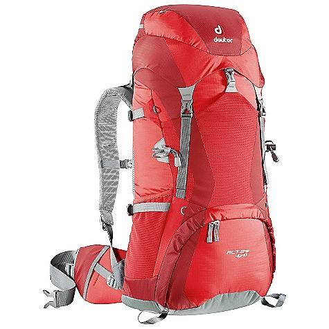 Free Shipping. Deuter ACT Lite 40 + 10 Pack DECENT FEATURES of the Deuter ACT Lite 40 + 10 Pack Anatomically Shaped shoulder straps: with 3D-AirMesh cover Anatomically Shaped X-Frame: creates a comfortable, flexible construction for medium to heavy loads, 1/2in. stays 40-50 liter; 1in. stays 60-65 liter Variquick: customize your fit by making your individual height adjustment Breathable Hollow Chamber Foam: blends superior ventilation via a pump effect that circulates air through the cushions The result is a snug fitting, stable carry and a reduction of perspiration by 15% Anatomically Cut Hip Belt: with bilaminate foam provides great load transfer and offers freedom of movement Alternative Varquick Shoulder Harnesses: available to customize fit Aircontact Back System Variquick Adjustable Shoulder Harness Bottom Compartment Access with Internal Zip Divider Large Front Stretch Stuff-it Pocket Hollow-core Aluminum X-Frame Ice Axe and Trekking Pole Attachments Hydration Compatible Top and Bottom Lid Pockets Stretch-woven Side Pockets Hip Belt Pocket Height Adjustable Lid SOS Label Pull Forward Hip Belt Straps The SPECS Carry Capacity: 40 lbs / 18 kg Torso Length: Adjustable: 14 - 19.5in. / 36 - 49 cm Volume: 2440 cubic inches / 40 liter Weight: 3 lbs 6 oz / 1.5 kg (+10 liter Extension Collar) Dimension: (H x W x D): 29 x 11 x 9.1in. / 74 x 28 x 22 cm Material: Ripstop 210 / Duratex Lite Aluminium Stays: 1/2in. X-Frame OVERSIZE ITEM: We cannot ship this product by any expedited shipping method (3-Day, 2-Day or Next Day). Even if you pick that option, it will still go Ground Shipping. Sorry for being so mean. - $169.00