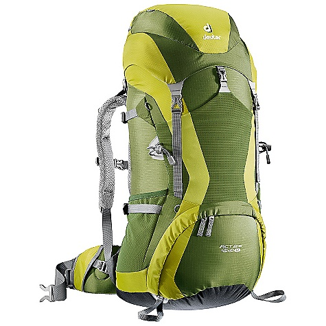 Camp and Hike Free Shipping. Deuter Women's ACT Lite 45+10 SL Backpack DECENT FEATURES of the Deuter ACT Lite 45 + 10 SL Pack AIRCONTACT Back System VARIQUICK Adjustable Shoulder Harness Bottom Compartment Access with Internal Zip Divider Large Front Stretch Stuff-it Pocket in.Hollow-core Aluminum X Staysin. Ice Axe and Trekking Pole Loops Hydration Compatible Top and Bottom Lid Pockets Stretch-woven Side Pockets Hip Belt Pocket Height Adjustable Lid SOS Label Pull Forward Waist Belt Straps Women's Specific Fit-SL or Slim Line Aircontact ACT Lite System Anatomically Shaped Shoulder Straps: With 3D-AirMesh cover Variquick: Customize your fit by making your individual height adjustment Anatomically Shaped X-Frame: Creates a comfortable, flexible construction for medium to heavy loads Breathable Hollow Chamber Foam: blends superior ventilation via a pump effect that circulates air through the cushions. The result is a snug fitting, stable carry and a reduction of perspiration by 15% Anatomically Cut Hip Belt: With bilaminate foam provides great load transfer and offers freedom of movement The SPECS Carry Capacity: 45 lbs / 20 kg Torso Length: Adjustable: 14 - 19in. / 36 - 48 cm Volume: 350 cubic inches / 55 L with Height Adjustable Lid Weight: 3 lbs 5 oz / 1.48 kg Dimensions (H x W x D): 29in. x 11in. x 9.5in. / 74 x 28 x 23 cm Materials: Ripstop 210 den, Duratex Lite 500 den - $179.00