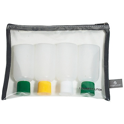 On Sale. Eagle Creek Pack-It Liquid-Gel Set DECENT FEATURES of the Eagle Creek Pack-It Liquid/Gel Set Meets 3-1-1 TSA requirements One-quart, zip top liquid and gel carry-on kit for airline security screening Clear and durable thermo polyurethane (TPU) zip top pouch prevents leaks and helps organize your liquid or gel containers Set includes 1 quart / 1 L bag 4 - 3 oz squeezable bottles Color-coded lids The SPECS Capacity: (1) 1 quart / 1 L bag, (4) 3 oz bottles Weight: 4 oz / 113 g Dimension: 10 x 8 x 1.5in. / 9 x 13 x 4 cm LDPE plastic bottle Clear TPU - $11.25