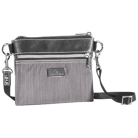 Entertainment Eagle Creek Evelyn Pouch DECENT FEATURES of the Eagle Creek Evelyn Pouch Removable adjustable 50in. strap can be worn as cross-body or stowed away Sized to accommodate a Passport Zippered top closure Front zippered pocket The SPECS Weight: 4 oz / 0.15 kg Dimension: 7 x 5.5 x 0.5in. / 18 x 14 x 1 cm 420D Helix Tela (Black) 420D Helix Stratus (Stratus), Satin Lining - $29.95