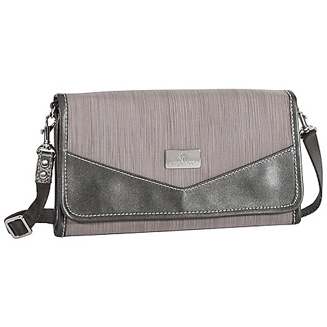 Entertainment Free Shipping. Eagle Creek Susie Travel Clutch DECENT FEATURES of the Eagle Creek Susie Travel Clutch Removable adjustable 50in. strap can be worn as cross-body or stowed away Organization for currency, credit cards, travel documents, receipts and phone Interior zippered Passport and coin pockets Slip pocket with ID window Zippered main compartment with magnetic flap closure Exterior zippered pocket The SPECS Weight: 11 oz / 0.3 kg Dimension: 10.5 x 6 x 1.5in. / 26.5 x 15 x 3.5 cm 420D Helix Tela (Black) 420D Helix Stratus (Stratus), Satin Lining - $61.95