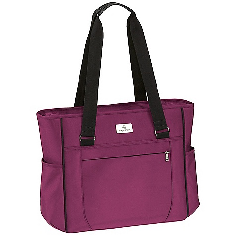 Entertainment Free Shipping. Eagle Creek Ease Tote DECENT FEATURES of the Eagle Creek Ease Tote Lockable, self-repairing, zippers on main compartments for travel security Travel-focused organization includes padded mobile phone and electronics pockets and interior zippered pockets Internal padded divider to organize your bag External zippered pocket for last minute items Back slip panel allows for stacking on wheeled luggage The SPECS Capacity: 1400 cu in / 23 L Weight: 2 lbs / 0.9 kg Fabric: 1260D Helix(TM) Ballistic Dimensions: 15 x 13 x 5 in / 38 x 33 x 13 cm - $124.95