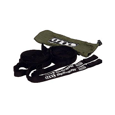 Camp and Hike Eagles Nest Slap Strap Pro FEATURES of the Nest Slap Strap Pro by Eagles Nest Tree-Friendly Slap Strap Pro Hammock Suspension System Adjustable hammock suspension system Made with .75in. soft UV treated nylon webbing When both straps are used properly, they can safely support up to 400 lbs Works on two trees or sturdy objects between 10-20 feet apart Offers 22in. of additional length over the original Eagles Nest Slap Strap Completly Adjustable SPECIFICATIONS: Dimensions: 9' 6in.x .75in. Weight: 8 oz. - $24.95