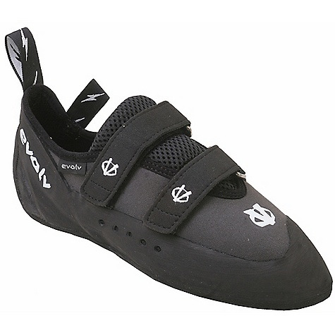 Climbing Free Shipping. Evolv Men's Defy Climbing Shoes DECENT FEATURES of the Evolv Men's Defy Climbing Shoe VTR3D rand system Very comfortable, bedroom slipper feel and design Soft midsole enables good smearing and sensitivity Asymmetric toe profile allows good performance even for new climbers Medium perforated upper for added breathability Molded logo on heel rand The SPECS Profile: Asymmetrical toe profile (KA-1 last) Sole: 4.2mm TRAX XT-5 high friction rubber Rand: VTR3D rand system (thicker in front toe area) Upper: Elastic Synthratek synthetic upper Lining: Nylon lining Midsole: MX-P: 1mm half-length midsole Weight: 7.6 oz / 216 g (size 9) - $88.95