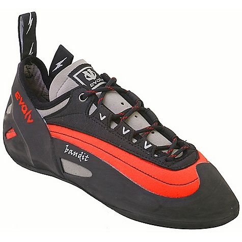 Climbing Free Shipping. Evolv Men's Bandit Climbing Shoe DECENT FEATURES of the Evolv Men's Bandit Climbing Shoe Medium stiffness climbing shoe with a chiseled toe box Dual layer red upper enhances structure and support Responsive edging on all types of climbing Lace closure for an awesome fit All around versatility with a truly a comfortable fit The SPECS Profile: Asymmetrical (KA-1 last) Upper: Synthetic (non-stretch Synthratek upper) Lining: Microfiber (balance of comfort and performance) Closure System: Lace Midsole: MX-P: 1.5mm full-length Sole: 4.2mm TRAX high friction rubber Rand: VTR rand (thicker in the toe area) Weight: 8.9 oz, 1/2 pair, size 9 - $119.95