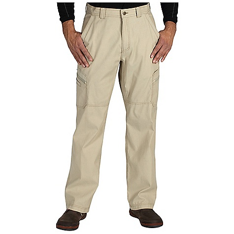 Free Shipping. Ex Officio Men's Roughian Cargo Pant DECENT FEATURES of the Ex Officio Men's Roughian Cargo Pant Two security zip pockets Drop-in gadget pocket Grommet for attachments Full inseam gusset High Strength: Fabric has high tear strength ratio for maximum durability Stretch: Stretch fabric provides maximum mobility and comfort during activity Sun Guard 50+: Specialized fabric rated with a UPF (Ultraviolet Protection Factor) absorbs and reflects harmful rays, preventing them from damaging your skin Pre-Shrunk: Pre-washed to prevent shrinking The SPECS Natural fit Inseam: short: 30in., regular: 32in., long: 34in. Roughian Canvas 75% Cotton / 22% Polyester / 3% Spandex - $84.95