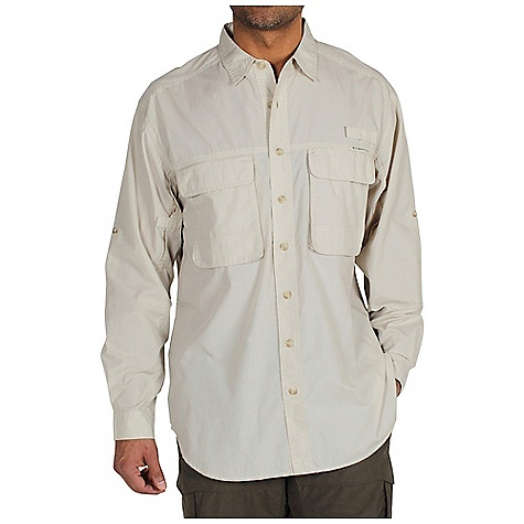 Free Shipping. Ex Officio Men's Bugsaway Baja LS Woven DECENT FEATURES of the Ex Officio Men's Bugsaway Baja Long Sleeve Woven Button front placket Security zip pocket Flow thru ventilation system Inverted box pleat with action back Utility loop Roll-up sleeve tabs Anti-Insect: Insect Shield finish to repel flies, ticks, mosquitoes, chiggers, midges, and ants Sun Guard 30+: Specialized fabric rated with a UPF (Ultraviolet Protection Factor) absorbs and reflects harmful rays, preventing them from damaging your skin Quick Drying: Fibers release moisture easily so garment dries rapidly Ventilation: Strategically placed vents circulate air to decrease body temperature The SPECS Relaxed fit Wrinkle Free Check 65% Polyester/35% Cotton - $98.95