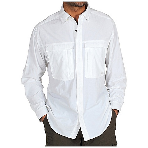 On Sale. Free Shipping. Ex Officio Men's Bugsaway Halo LS Woven DECENT FEATURES of the Ex Officio Men's Bugsaway Halo Long Sleeve Woven Multi-entry drop in chest pockets with security zippers Hidden button-down collar Back panel ventilation also allows for increased mobility Roll-up sleeve tabs Floating pocket loop Relaxed Fit The SPECS Anti-Insect: Insect Shield finish to repel flies, ticks, mosquitoes, chiggers, midges, and ants Quick Drying: Fibers release moisture easily so garment dries rapidly Sun Guard 30+: Specialized fabric rated with a UPF (Ultraviolet Protection Factor) absorbs and reflects harmful rays, preventing them from damaging your skin Ventilation: Strategically placed vents circulate air to decrease body temperature Lightweight: Lightweight fibers make this weigh less than a similar garment Moisture Wicking: Fabric moves moisture along the garment's surface away from the skin Fabric: Ultralite Nylon 100% Nylon - $58.99
