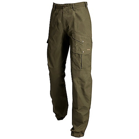 On Sale. Free Shipping. Fjallraven Men's Greenland Trouser DECENT FEATURES of the Fjallraven Men's Greenland Trouser G-1000 trousers with high waist and comfort fit Reinforced over the knees and elastic ancle with strap adjustment Map pocket, axe pocket, internal safety pocket Leather Logo The SPECS Fit/Waist: Comfort Fit/High Waist Fabric: G-1000 Original: 65% polyester 35% cotton Reinforcement: Yes Leg Ending: Fixed Length Leg Type: Full Leg Weight: 551 g - $118.99