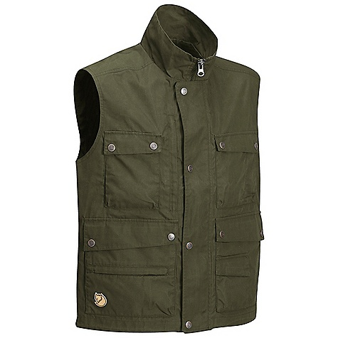 Free Shipping. Fjallraven Men's Reporter Lite Vest DECENT FEATURES of the Fjallraven Men's Reporter Lite Vest Hip length vest in G-1000 Lite 2-way opening hand pockets Multi-use pocket system Leather Logo The SPECS Fabric: G-1000 Lite: 65% polyester 35% cotton Lining 100% polyester Weight: M: 488 g - $149.95