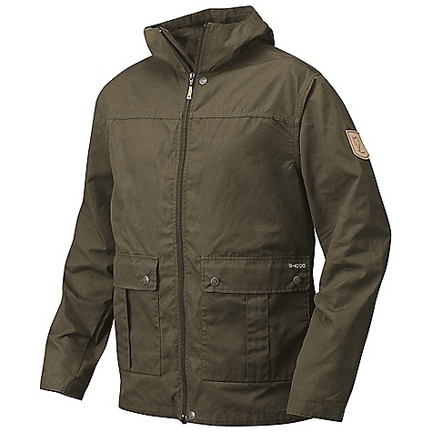 On Sale. Free Shipping. Fjallraven Men's Fjell Jacket DECENT FEATURES of the Fjallraven Men's Fjell Jacket Fixed hood Drawcord adjustment at bottom hem Inside zip shield 2-way opening below pockets with button closure 2 inner pockets one with zipper and one open Press button at the sleeve end for tightening possibilities The SPECS Weight: (M): 575 g G-1000 Lite: 65% polyester, 35% cotton - $182.99