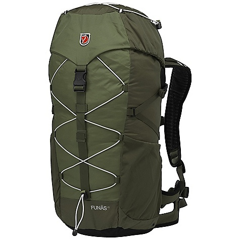 Climbing Free Shipping. Fjallraven Funas 45 Pack DECENT FEATURES of the Fjallraven Funas 45 Pack Top loaded backpack with supportive hip belt Ergonomically shaped back panel with airy construction Expandable side pockets in durable stretch polyamide Elastic cord on front and lid Safety whistle on chest strap Rain cover included in bottom pocket The SPECS Weight: 1440 g excl. rain cover Webbing: 100% polyamide Dimension: ( H x W x D): 67 x 33 x 24 cm Volume: 45 liter Rain Cover: Included System: Fixed 100D Baby Ripstop polyamide, 500D polyamide - $169.95
