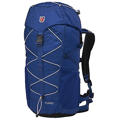 Camp and Hike Free Shipping. Fjallraven Funas 25 Pack DECENT FEATURES of the Fjallraven Funas 25 Pack Top loaded backpack with supportive hip belt Ergonomically shaped back panel with airy construction Expandable side pockets in durable stretch polyamide Elastic cord on front and lid Safety whistle on chest strap Rain cover included in bottom pocket The SPECS Weight: 1240 g excl. rain cover Webbing: 100% polyamide Dimension: ( H x W x D): 55 x 28 x 21 cm Volume: 25 liter Rain Cover: Included System: Fixed 100D Baby Ripstop polyamide, 500D polyamide - $119.95
