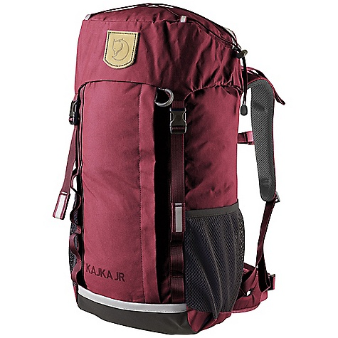 Camp and Hike Free Shipping. Fjallraven Kajka JR Pack DECENT FEATURES of the Fjallraven Kajka JR Pack Suitable for kids (ca 8-12 years) Ergonomic shoulder straps with top adjusters Supportive hipbelt Front opening for easy access Reflectors on front, back and top Large side pockets in mesh Safety pocket inside Leather Logo The SPECS Weight: 894 g Volume: 20 liter Dimension: (H x W x D): 56 x 24 x 23 cm Rain Cover: Included Zipper: YKK Webbing: 100% polyamide Fabric: Vinylon F: 100% polyvinyl alcohol, 840D Jr Ballistic polyamide - $119.95