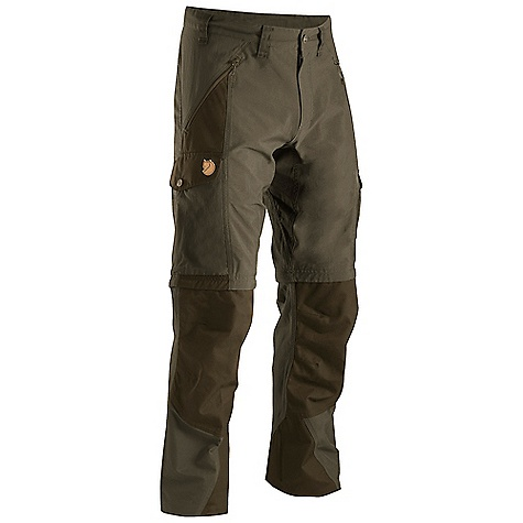 Camp and Hike On Sale. Free Shipping. Fjallraven Men's Abisko Zip-Off Trouser DECENT FEATURES of the Fjallraven Men's Abisko Zip-Off Trouser Trekking zipp off trouser in stretch and G-1000 that gives you freedom of movement and durability G-1000 reinforcement at butt, knees and leg ending Extra high at back rise and pree shaped knees and butt 2 hand pockets, 1 big leg pocket, 1 smaller inner mesh pocket and 1 pocket for cellphone or gps Leather Logo The SPECS Fit/Waist: Regular Fit/Mid Waist Fabric: G-1000 Original: 65% polyester 35% cotton Stretch: 98% polyamide (nylon 6.6) 2% elastane Reinforcement: Yes Leg Ending: Raw Length Leg Type: Zip-Off Stretch Panels: Yes Weight: 518 g - $169.00