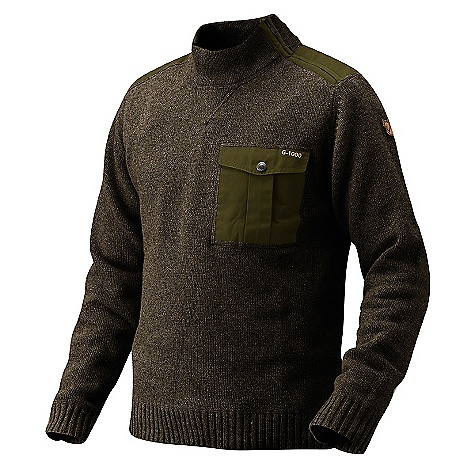 Features of the Fjallraven Men's Torp Sweater Regular Fit sweater in a wool blend with cotton A soft comfortable blend with the warmth of wool 1 chest pocket in G-1000 Original Leather details - $109.99