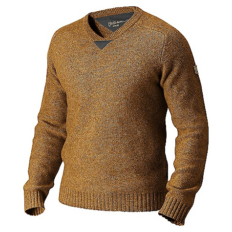 Features of the Fjallraven Men's Woods Sweater V-neck sweater, in the warming properties of fine lambswool G-1000 Original details and reinforcement at elbow patches Leather details - $118.99