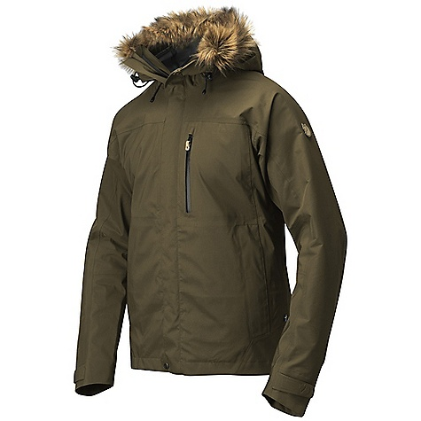 Free Shipping. Fjallraven Men's Eco-Tour Jacket DECENT FEATURES of the Fjallraven Men's Eco-Tour Jacket 3 layer Eco Shell jacket in recycled and recyclable polyester with soft brushed inside Two hand pockets and one chest pocket Fixed hood with adjustment and a detachable fur Pit/side ventilation zippers Detachable snow lock inside the jacket Welded sleeve strap for adjustment Reflective band on hood Leather details The SPECS Weight: (M): 777 g Breathability: 15000 g/m2/24h Water Column: 20000 mm Membrane: 100% polyester 100% polyester - $498.95