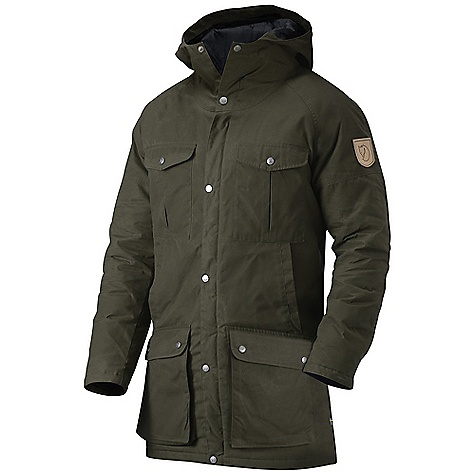 On Sale. Free Shipping. Fjallraven Men's Greenland Parka FEATURES of the Fjallraven Men's Greenland Parka A Fjallraven Classic from 1972 Long light padded parka in G-1000 Silent 2 bellow chest pockets, 2 hand warming pockets and 2 bottom top-loading pockets 1 inner zip pocket and 1 top-loading inner pocket with velcro closure Leather details - $237.99