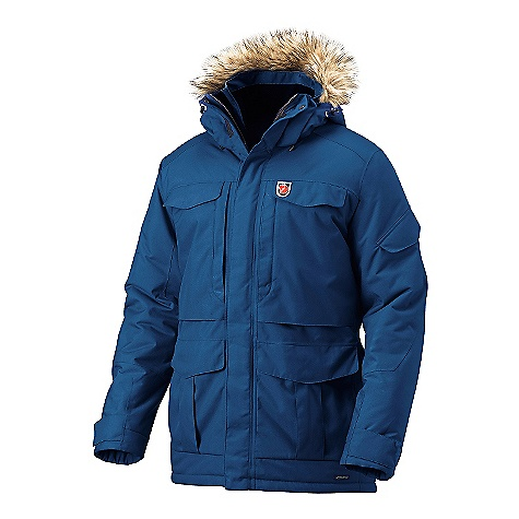 On Sale. Free Shipping. Fjallraven Men's Yupik Parka DECENT FEATURES of the Fjallraven Men's Yupik Parka Ice fishing parka with the optimal hardwearing and functional combination of G-1000 Original and G-1000 HD 2 top loading bellow pockets and 2 fleece lined hand warming pockets Inside there are 2 large stretch mesh storage pockets, 1 media pocket with zipper, napoleon pocket for easy access to equipment or phone with out opening the jacket Inside is equipped with a snow lock and drawcord at bottom hem Fixed 2-way adjustable tunnel storm hood with detachable arctic fur Leather details The SPECS Weight: (M): 1819 g Breathability: 10000 g/m2/24h Water Column: 10000 mm Fill: 100% polyester Supreme Microloft Lining: 100% polyamide, 100% polyester fleece Membrane: 100% polyurethane 100% polyamide - $373.99