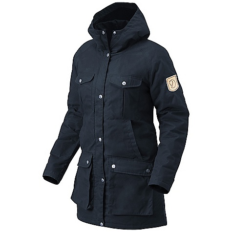 Features of the Fjallraven Women's Greenland Parka A Fjallraven classic from 1972 Long light padded parka in G-1000 Silent 2 chest pockets, 2 hand warming pockets and 2 bottom top-loading pockets 1 inner zip pocket and 1 top-loading inner pocket with velcro closure Leather details - $216.99