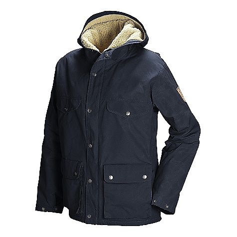 Free Shipping. Fjallraven Women's Greenland Winter Jacket DECENT FEATURES of the Fjallraven Women's Greenland Winter Jacket Classic Fjallraven jacket in G-1000 with pile lining Snug Fitting hood Reinforced shoulders and elbows 2-way opening bellow hand pockets Leather details The SPECS Weight: (S): 840 g Lining: 100% polyester, 100% polyamide G-1000 Original: 65% polyester, 35% cotton - $349.95