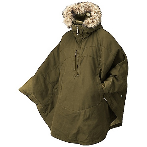 The Fjallraven Women's Luhkka Cape is a knee-length cape for weather protection through fall and winter. The Luhkka Cape makes your dreams of being a superhero come True, just throw it on over your sweater and head out the door. The G-1000 fabric is water-resistant and durable, shielding you from the elements. A light synthetic lining adds a touch of warmth, just make sure your toasty winter clothing is on underneath. The synthetic fur trim on the hood is removable for adjusting the style and warms the face against wind and Snow when it's on. The half zipper makes getting the cape on a quick and easy process, as well as allows a bit of cooling on mild days. A zippered pocket at the front holds onto your phone while the kangaroo pocket down low secures your gloves when not in use. Features of the Fjallraven Women's Luhkka Cape Traditional cape style in G-1000 Original, light padded Adjustable hood with detachable faux fur Big front pocket with fleece lining 1 chest pocket At bottom hem adjustable with press buttons Leather details - $261.99