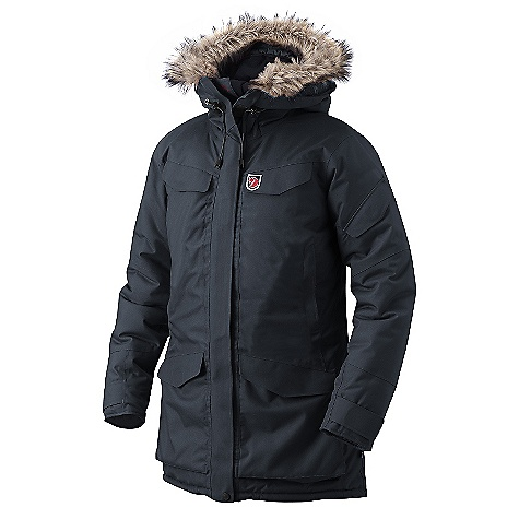 Motorsports The Fjallraven Women's Nuuk Parka is a long length parka for winter warmth from head to knee. The Nuuk is made with a water- and windproof outer fabric, providing a durable barrier between you and the elements. It is then lined with a synthetic Insulation to heat up your body against the cold temperatures of the winter season. The Nuuk Parka runs large, so much that Fjallraven recommends ordering one size down, unless of course a giant jacket is your sort of thing. Don't worry, even after going one size down, it's still nice and long to cover your butt and your tHighs as you walk down the street. Snuggle into the fleece-lined hood for head warmth and the artificial fur ruff will warm the face, or remove the fur and change your style. Pockets galore allow you to bring along your extra gloves, phone, wallet and more. Maybe a sandwich? Just put it in a little baggie first. Features of the Fjallraven Women's Nuuk Parka Women's wind and waterproof padded parka in fluorocarbon free impregnated Hydratic 2 fleece lined hand warming pockets at sides 2 chest pockets 2 top loading bellow pockets and 1 media pocket on sleeve Two-way adjustable storm hood with detachable arctic faux fur Inside is equipped with drawcord at the waist and bottom hem, 2 large stretch mesh storage pockets, 1 media pocket with fox hole and cord holder, 1 additional inner safety pocket Velcro adjustments for the sleeve cuffs help keep the cold out Fleece lined hood and collar Jacket runs about one size larger than normal - $499.95