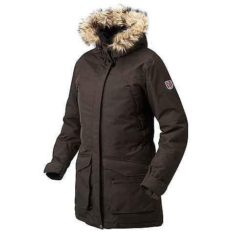 Free Shipping. Fjallraven Women's Kyla Parka FEATURES of the Fjallraven Women's Kyla Parka Down filled parka Wind and water resistance Drawstring at waist and bottom Adjustable fixed hood lined with polyester fleece Detachable faux fur Extra rib collar at back neck 2 big front pockets, 2 chest pockets with zipper, 1 small zipped pocket and Napoleon pocket On the inside there are 2 big storage pockets in mesh Leather details - $799.95