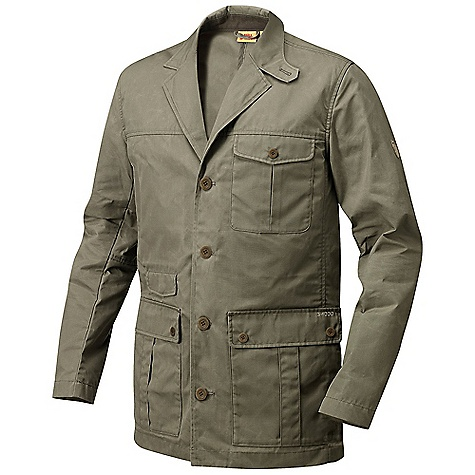 Free Shipping. Fjallraven Men's Travel Blazer DECENT FEATURES of the Fjallraven Men's Travel Blazer Collar can be folded up and closed at the top Draw cord adjustment in the back 2-way bellow pockets, 1 chest pocket and 1 small pocket Mobile-phone pocket Front of the inside lined with shell fabric The SPECS Weight: (M): 645 g Lining: 100% polyester G-1000 Original: 65% polyester, 35% cotton - $224.95