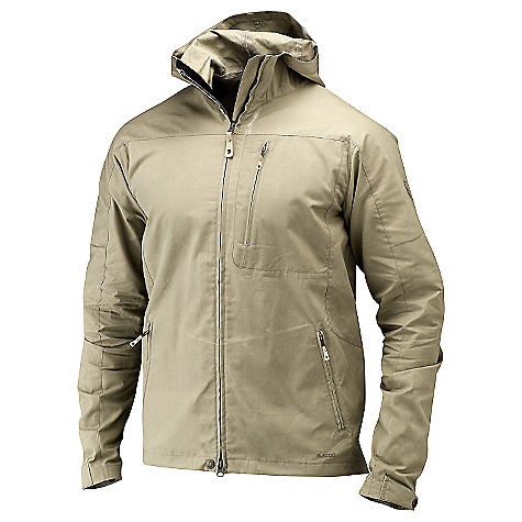 On Sale. Free Shipping. Fjallraven Men's Sten Jacket DECENT FEATURES of the Fjallraven Men's Sten Jacket Useful casual jacket in G-1000 Lite and G-1000 Original with a fixed, adjustable hood Pree shaped arms 2 handpockets with zip and 1 chest pocket with zip Leather Logo The SPECS Fabric: G-1000 Original: 65% polyester 35% cotton Weight: M: 432 g - $138.99