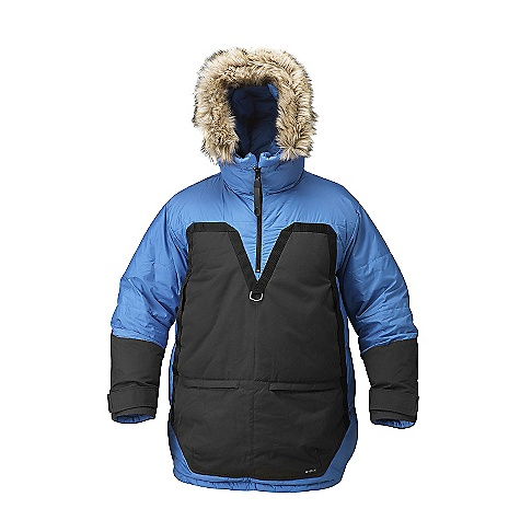 On Sale. Free Shipping. Fjallraven Men's Polar Parka DECENT FEATURES of the Fjallraven Men's Polar Parka Down Pullover with G-1000 Original reinforcements on front, sleeves and back bottom At front a big fleece lined kangaroo pocket and additional compartment pockets with zippers Fixed hood with adjustment and detachable fur Reflective band Leather details The SPECS Weight: (M): 1651 g Fill Weight: (M): 550 g Fill Power: 700 cubic inches Fill: 95% goose down, 5% feather, 100% polyester Supreme Microloft Lining: 100% polyamide 100% polyamide G-1000 Original: 65% polyester, 35% cotton - $505.99