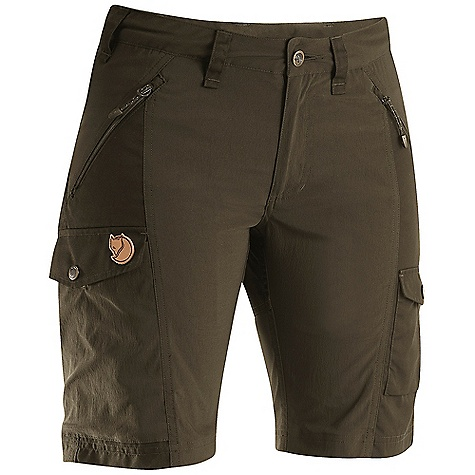Camp and Hike Free Shipping. Fjallraven Women's Nikka Short DECENT FEATURES of the Fjallraven Women's Nikka Short Trekking shorts in stretch and G-1000 that gives you freedom of movement and durability G-1000 reinforcement at butt Extra high at back rise 2 hand pockets, 1 big leg pocket, 1 smaller inner mesh pocket and 1 pocket for cellphone or gps Leather Logo The SPECS Fit/Waist: Regular Fit/Low Waist Fabric: G-1000 Original: 65% polyester 35% cotton Weight: 262 g - $89.95